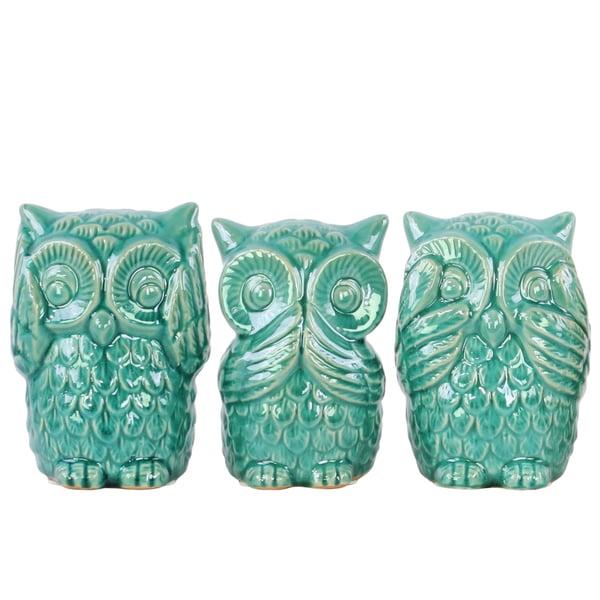 Ceramic Owl No Evil Figurine Assortment (Set of 3)