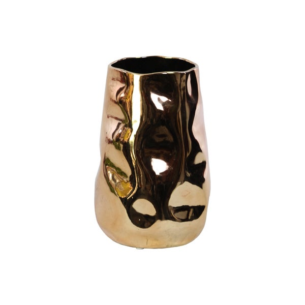 Ceramic Polished Gold Irregular Vase