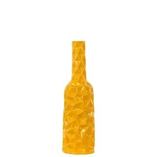 Ceramic Medium Gloss Finish Yellow Round Bottle Vase with Wrinkled Sides