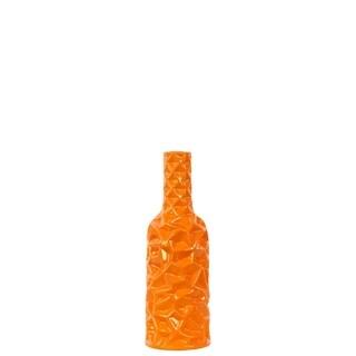 Ceramic Round Bottle Vase with Wrinkled Sides Small Gloss Finish Orange