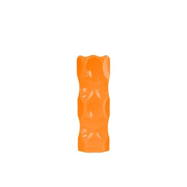 Medium Ceramic Orange Gloss Finish Cylindrical Vase with Dimpled Sides