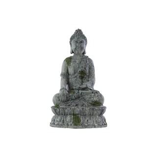 Moss on Concrete Cement Grey Finish Polystone Meditating Buddha Sculpture with Rounded Ushnisha in Bhumisparsha Mudra on Base