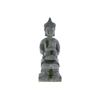Polystone Grey Cement Finish Kneeling Buddha Figurine with Pointed Ushnisha Holding Vase on Base Moss on Concrete