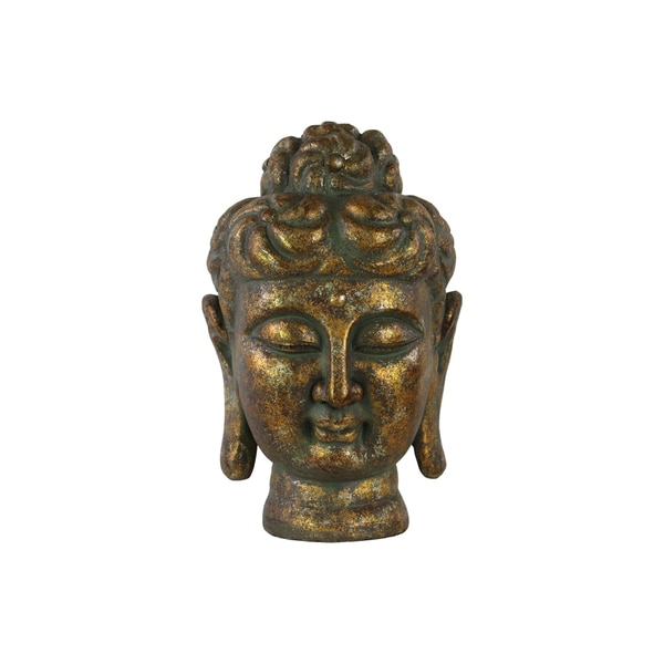 Fiberstone Buddha Head with Rounded Ushnisha with Combed Lines Tarnished Finish Gold