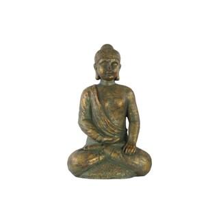 Fiberstone Tarnished Gold Meditating Buddha Figurine