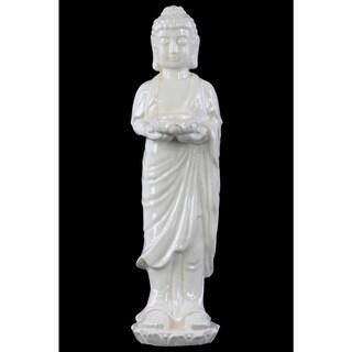Ceramic White Standing Buddha Figurine with Rounded Ushnisha on Lotus Base Holding a Bowl