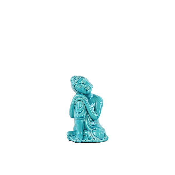 Ceramic Small Gloss Blue Sitting Buddha with Rounded Ushnisha and Resting Head on Knee Figurine