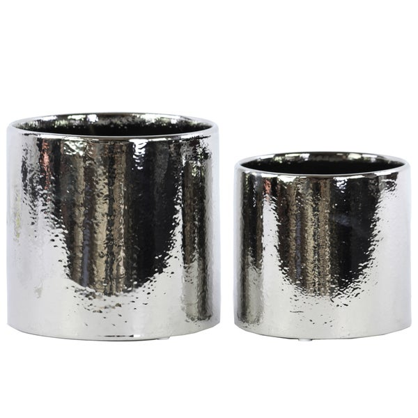 Ceramic Polished Chrome Finish Silver Round Pot (Set of 2)