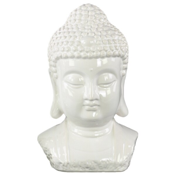 Ceramic Gloss Finish White Buddha Bust with Bun Ushnisha