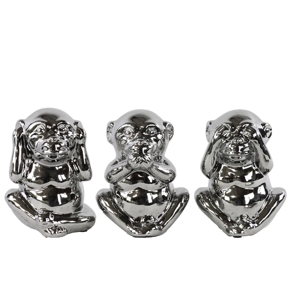 Polished Silver Chrome Finish Ceramic Standing Monkey No Evil Figurines (Set of 3)