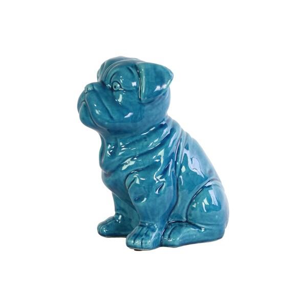 Ceramic Gloss Finish Turquoise Sitting British Bulldog Figurine