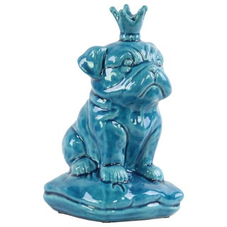 Ceramic Gloss Finish Turquoise British Bulldog Figurine with 5 Spiked Crown Sitting on a Cushion