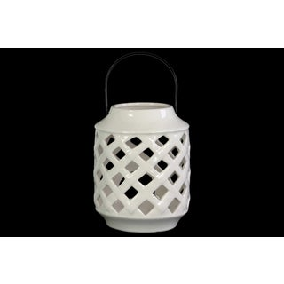 Glossy White Finish Ceramic Cylindrical Lantern with Metal Handle and Diagonal Cutout Design