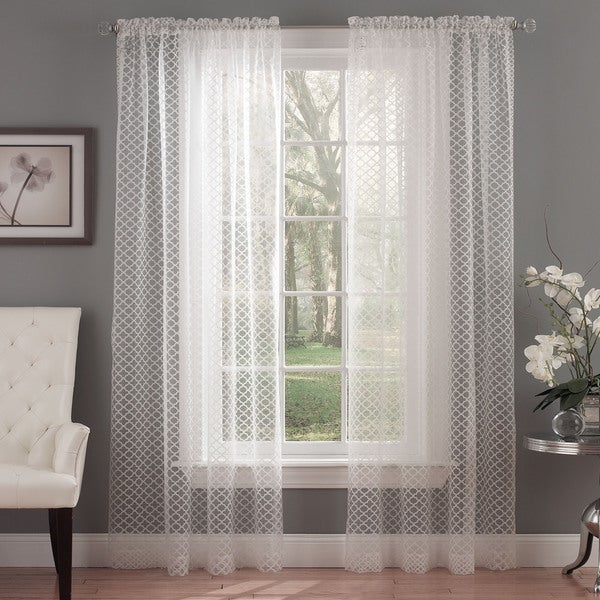 Waverly Framework Ivory Burnout Sheer Curtain Panel