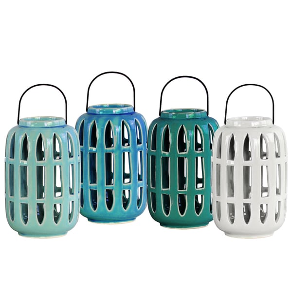 Ceramic Gloss Finish Assorted Color Cylindrical Large Lanterns Assortment of Four (Dark Green, Turquoise, White and Light Blue)