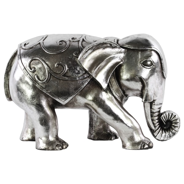Chrome Silver Finish Resin Swirl Design Standing Elephant Figurine 16991177