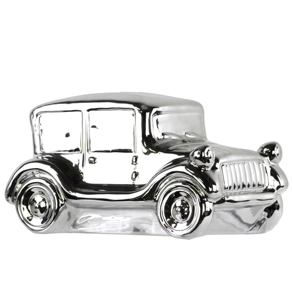 Urban Trends Classic Vintage Car Polished Chrome Silver Finish Ceramic Figurine