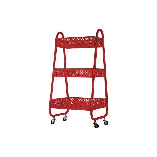 Urban Trends Perforated Bin Red Metal Cart