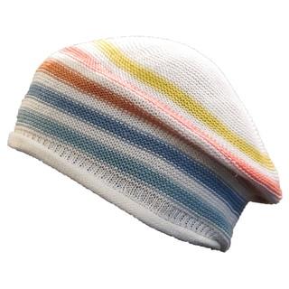 Sonia Rykiel Women's White Multicolor Striped Knit Beret Hat