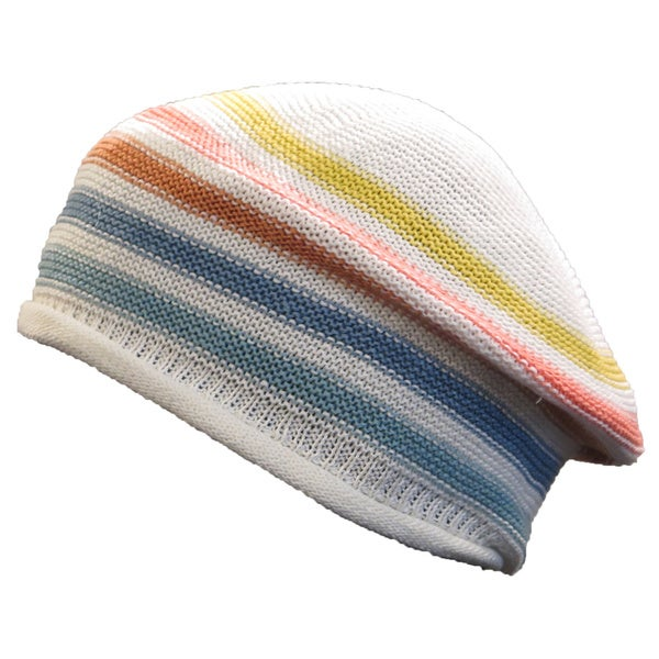 Sonia Rykiel Women's White Multicolor Striped Knit Beret Hat