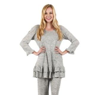 Fimriana Women's 3/4-Length Sleeve Light Grey Ruffle Pocket Tunic