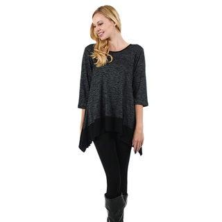 Firmiana Women's 3/4-Length Sleeve Two-Tone Tunic