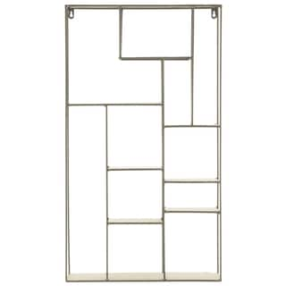 Metal Rectangular Wall Shelf with 11 Slots and Keyhole Hangers Coated Finish Champagne