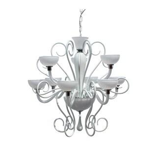 The Flora 9-light White Glass Chandelier