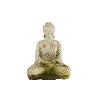 Fiberstone Meditating Buddha Statue with Rounded Ushnisha in Dhyana Mudra MD Antique Finish Dark Bronze