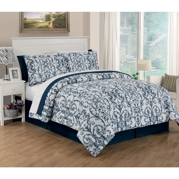 King Size 6-Piece Blue and White Comforter Set