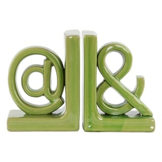 Urban Trends Alphabet Sculpture '@ and &' Gloss Green Large Ceramic Bookends