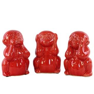 Ceramic Monkeys No Evil (Hear/Speak/See) Figurine Assortment Of Three Gloss Finish Red