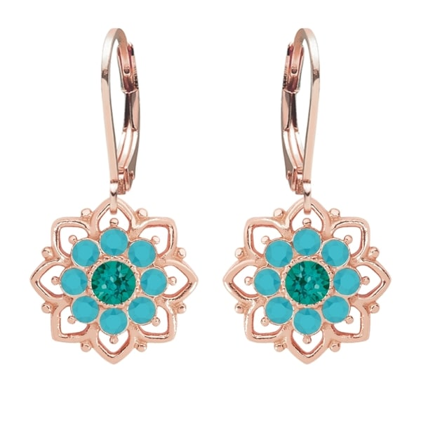 Lucia Costin Sterling Silver Turquoise Green/ Turquoise Crystal Dot Earrings