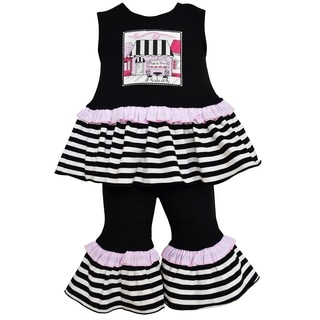 Ann Loren Boutique Girl's Striped Paris Cafe Tunic and Capri Set