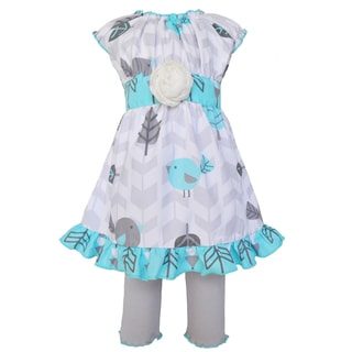 Ann Loren Boutique Girl's Birds Dress and Leggings Clothing Set