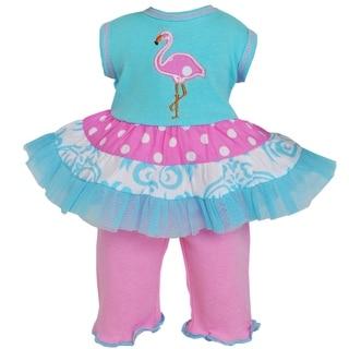 AnnLoren Pink Polka Dot Flamingo 2-piece Set for 18-inch Dolls
