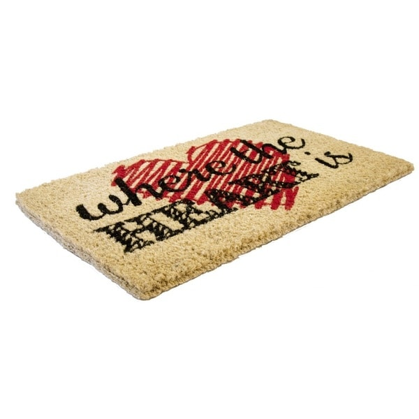 Heart Is Handwoven Coconut Fiber Doormat