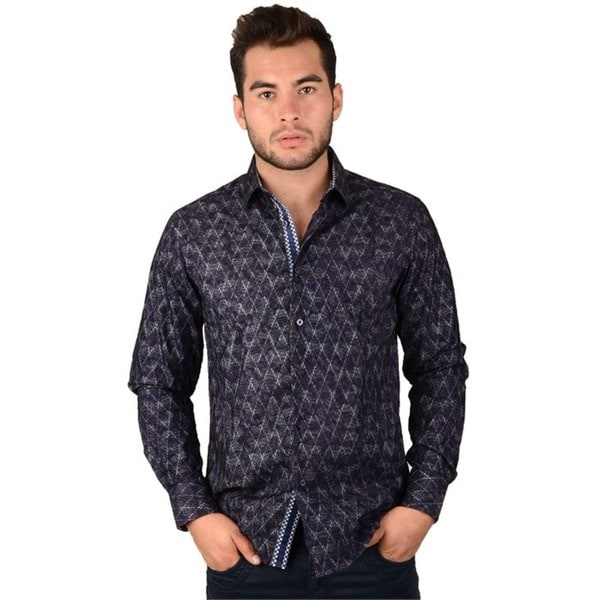 Mens Purple / Black Casual Shirt