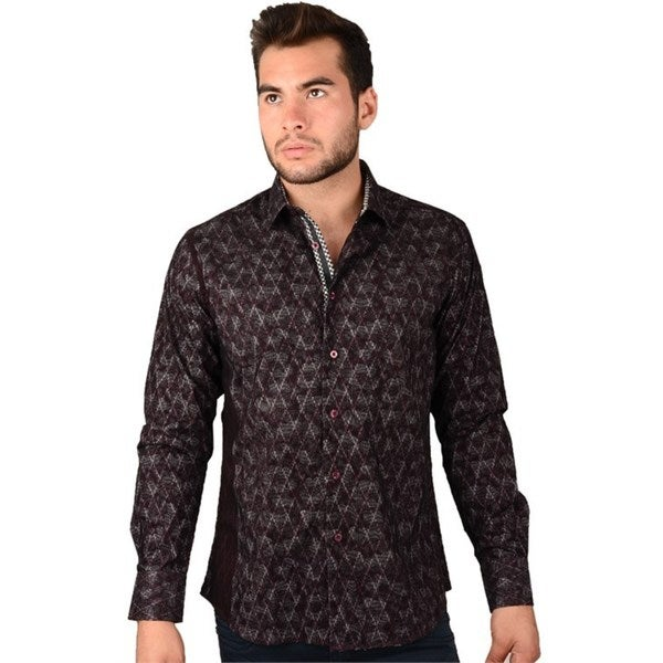 Mens Burgundy / Black Casual Shirt
