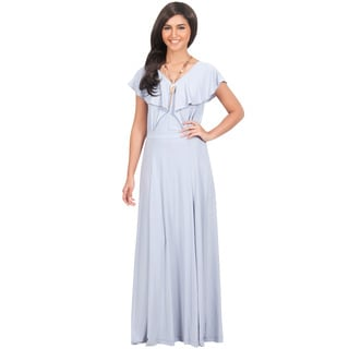 Koh Koh Women's Long V-Neck Short-Sleeve Ruffle Gown Maxi Dress