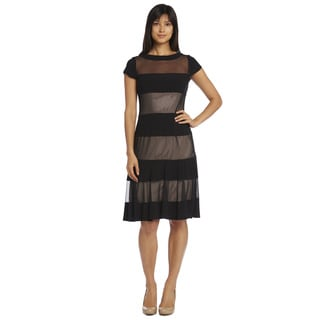 R&M Richards Women's Sheer Panel Short Sleeve Dress