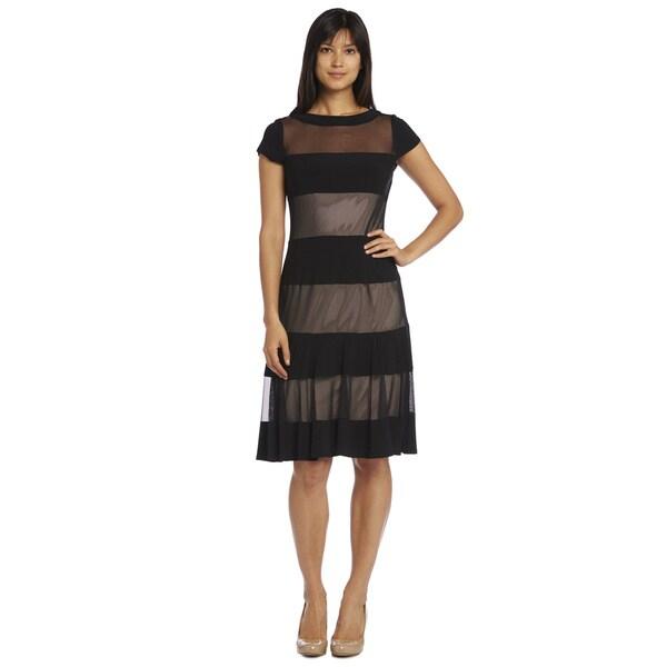 R&M Richards Women's Sheer Panel Short Sleeve Dress