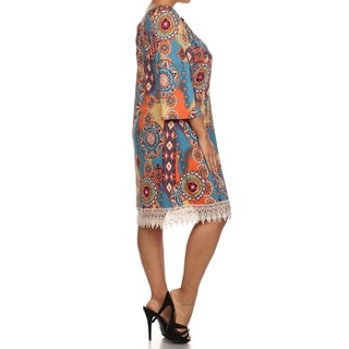 Moa Collection Women's Plus Size Abstract Floral Print Midi Dress
