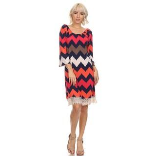 Moa Women's Chevron Print Lace Hem Dress