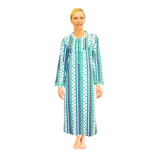 La Cera Women's Printed Flannel Nightgown