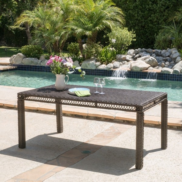 Christopher Knight Home Oakridge Outdoor Wicker Rectangle Dining Table