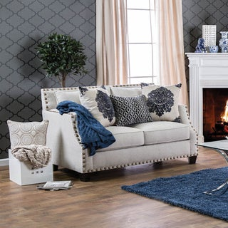 Furniture of America Rita Contemporary Nailhead Sloped Arm Loveseat