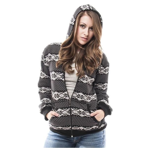 Soho Women's Diamond Snowflake Zip Up Hoodie Jacket