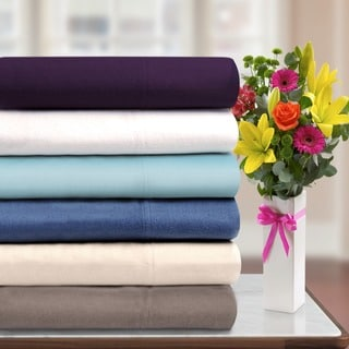 Solid Flannel Cotton Pillowcases (Set of 2)