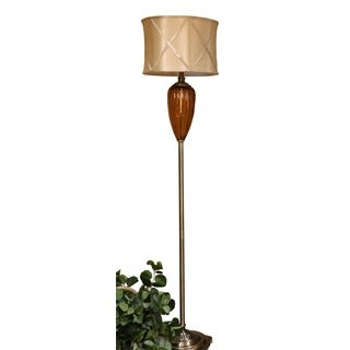 Bombay Outlet Amber Fluted Glass Vase Floor Lamp